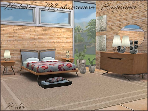 Sims 4 Mediterranean Experience Bedroom by Pilar at TSR