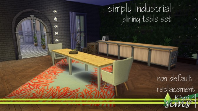 Simply Industrial Dining Table Set At Kiwi Sims 4