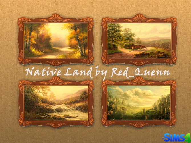 Sims 4 Native Land paintings by Red Queen at ihelensims