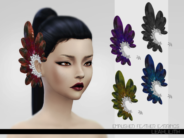 Sims 4 Emblished Feathers Earrings by LeahLillith at TSR