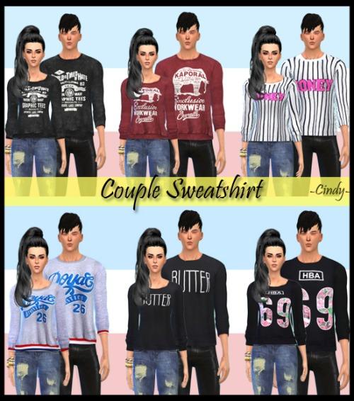 Sims 4 Couple Sweatshirt 6 patterns at CC4Sims