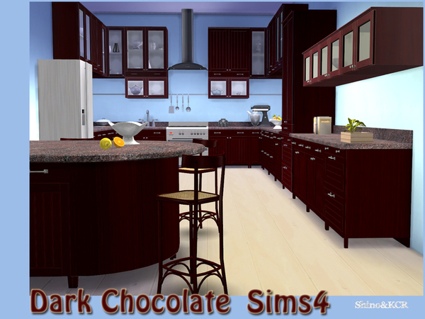 Sims 4 Kitchen Dark Chocolate by ShinoKCR at TSR