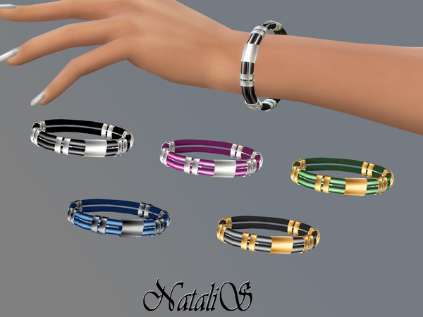 Sims 4 Rubber and metal bracelet by NataliS at TSR
