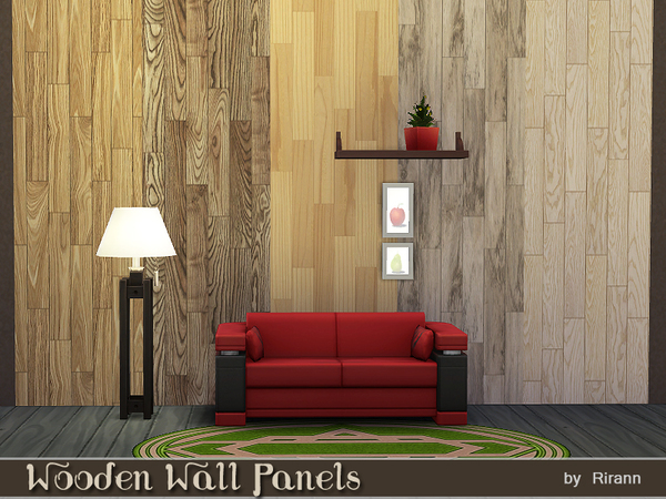 Sims 4 Wooden Wall Panels by Rirann at TSR
