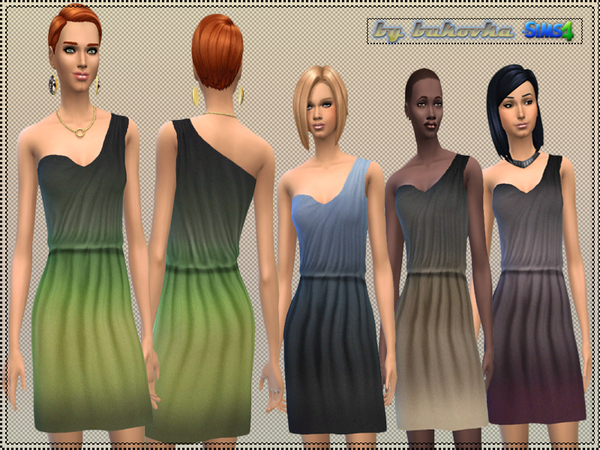 Sims 4 Dress asymmetry gradient by bukovka at TSR