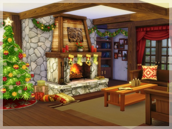 Christmas Log Cabin by Arelien at TSR image 1650 Sims 4 Updates