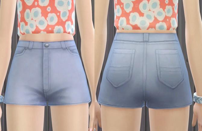 Sims 4 Maxis Match High Waist Denim Shorts at Pickypikachu