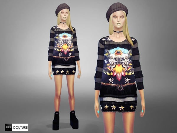 Sims 4 Long Printed Sweater by MissFortune at TSR