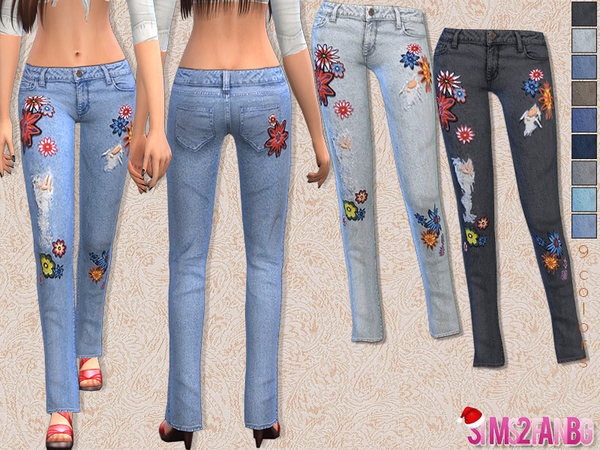 Sims 4 Floral skinny jeans by sims2fanbg at TSR
