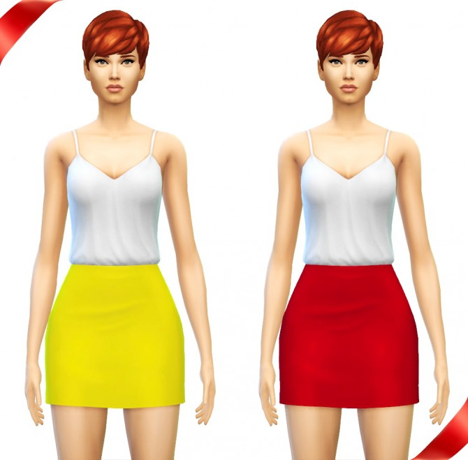 Sims 4 Romper + Slouchy Crop Top + High Waisted Mini Skirt at Sim4ny