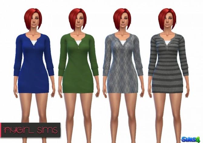 Sims 4 Layered Sweater Mini Dress at NyGirl Sims