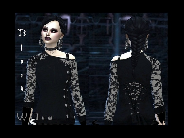 Sims 4 Black widow sweater by Stella Obscura at TSR