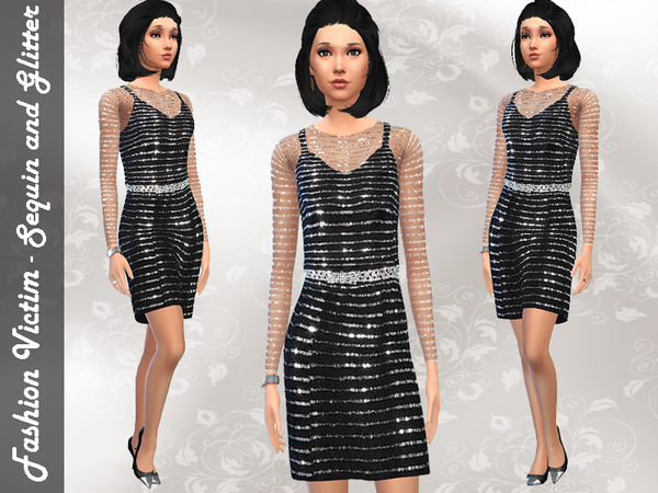 Sims 4 Sequined Cocktail Dress by Fashion Victim at TSR