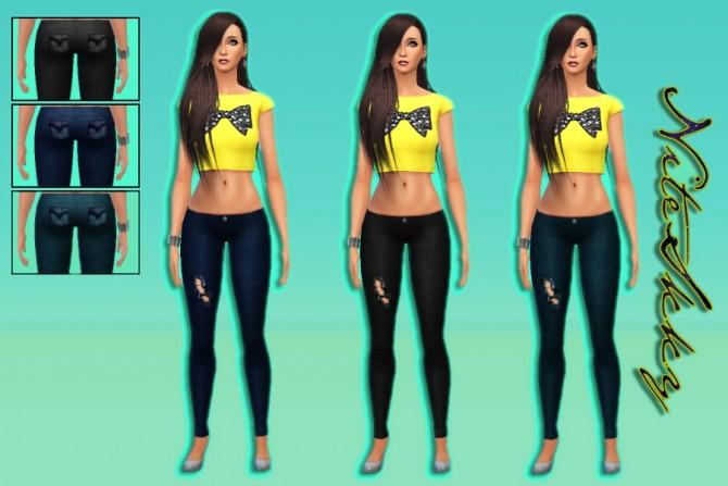 Sims 4 Ripped denim jeans at NiteSkky Sims