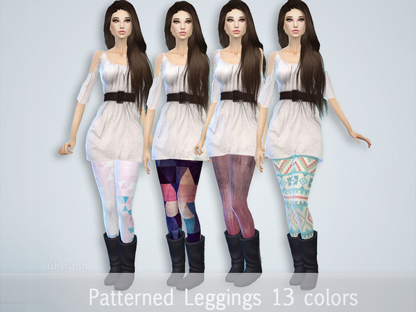 Pattern Leggings by UKTRASH at TSR image 2139 Sims 4 Updates