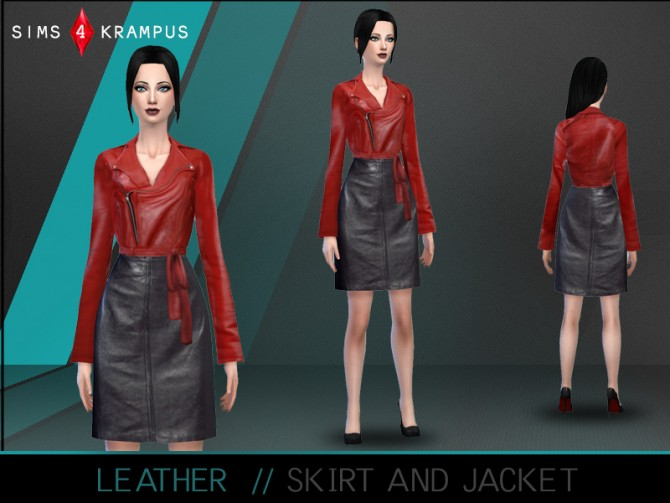 Sims 4 Leather skirt and jacket at Sims 4 Krampus