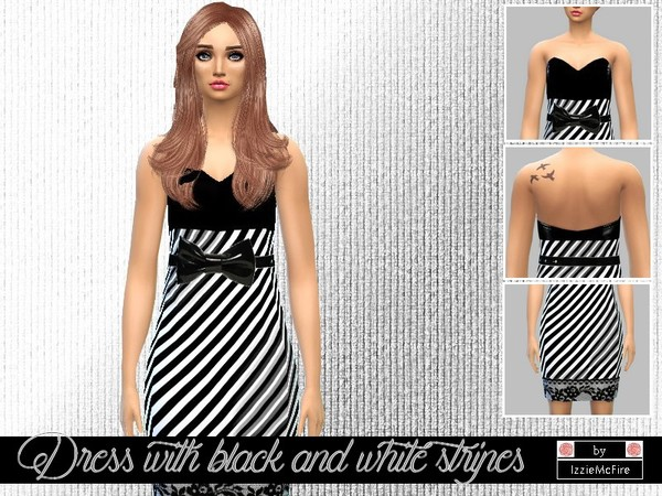 Dress with black and white stripes by IzzieMcFire at TSR image 2225 Sims 4 Updates