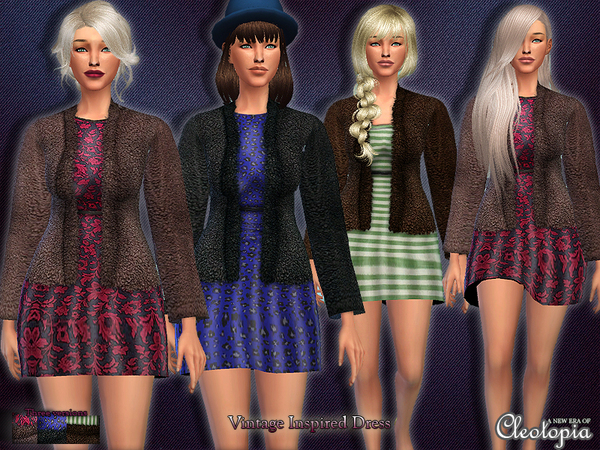 Sims 4 Vintage Inspired Dress with Coat by Cleotopia at TSR