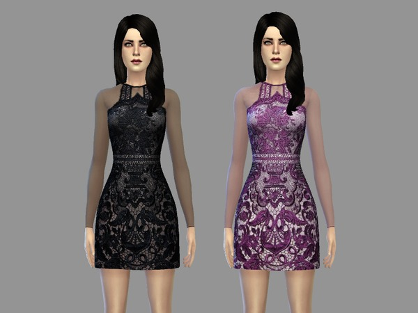 Sims 4 Elle dress by April at TSR