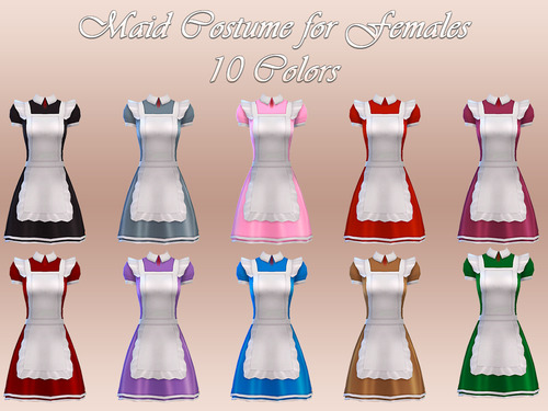 Maid Costume 10 Colors At NotEgain Sims 4 Updates