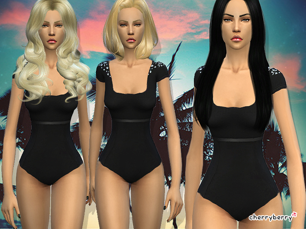 Sims 4 Shade swimsuit by CherryBerrySim at TSR
