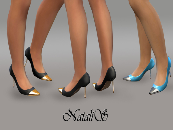 Leather Pumps metal toe by NataliS at TSR image 27 Sims 4 Updates