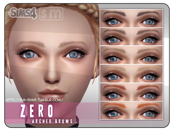 Sims 4 Zero Feminine Arched Brows by Screaming Mustard at TSR