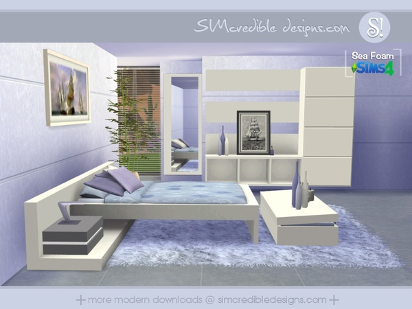 Sea foam bedroom by simcredible at tsr sims 4 updates for Bedroom designs sims 4
