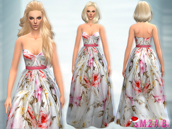 Sims 4 Long Colorful Dress by sims2fanbg at TSR