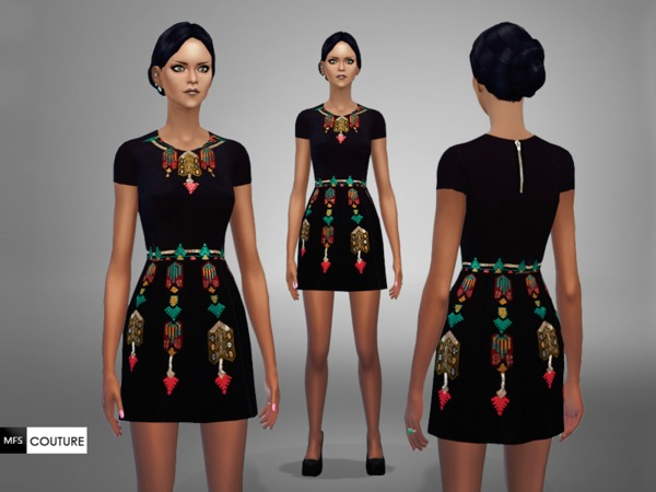 Sims 4 MFS Melanie Dress by MissFortune at TSR