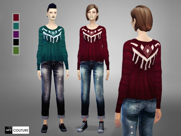 Sims 4 MFS Fringed Sweater by MissFortune at TSR