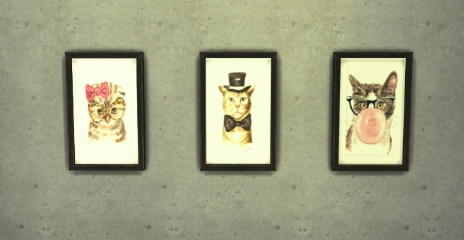 Adorable cat paintings at Ohmyglobsims image 3217 Sims 4 Updates