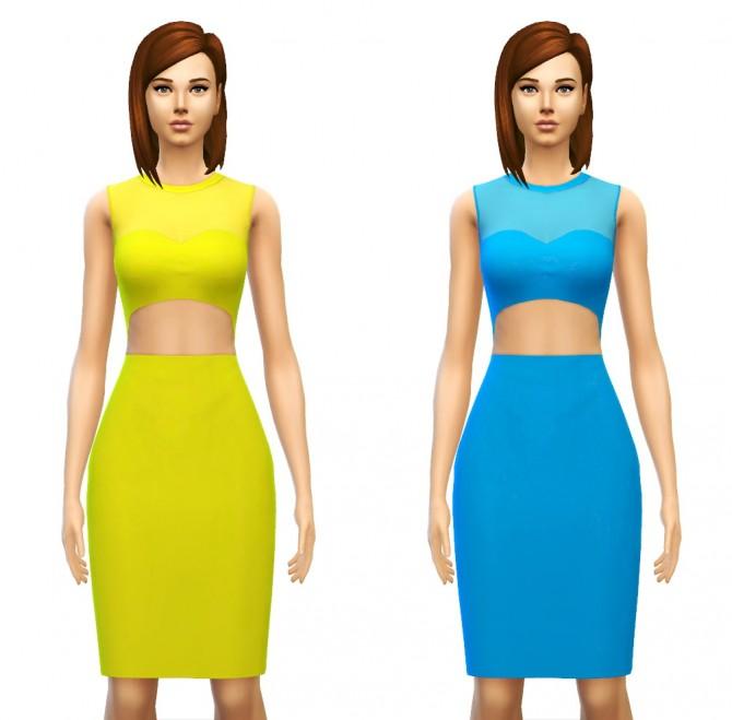 Sims 4 Minimalist Cut out Waist Dress at Sim4ny