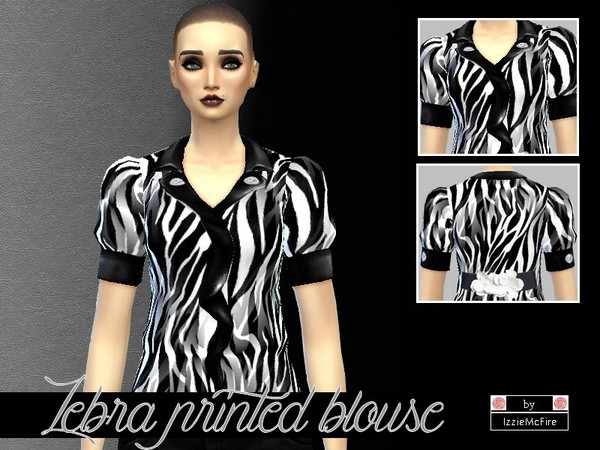 Zebra printed blouse by IzzieMcFire at TSR image 3321 Sims 4 Updates