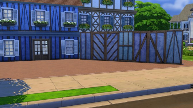Sims 4 Blue Alsace wall at Meinkatz Creations