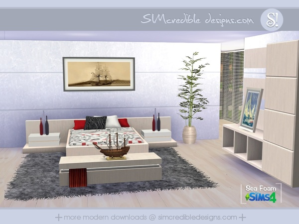 Sims 4 Sea Foam bedroom by SIMcredible! at TSR
