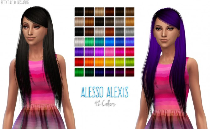 8 retextures each hair in 40 colors at Nessa Sims image 3530 Sims 4 Updates