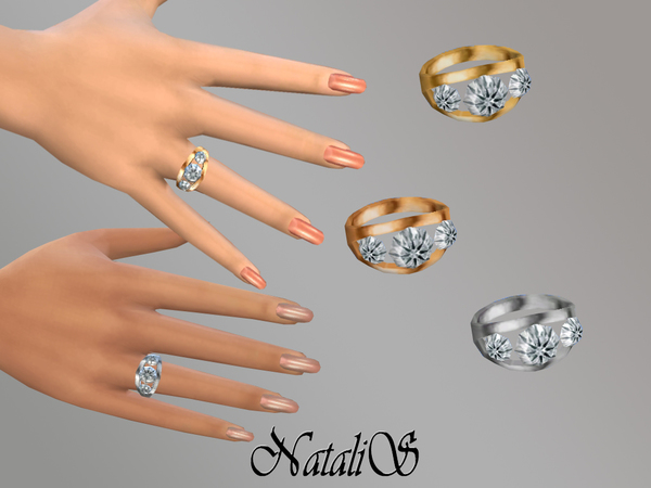 Sims 4 Ring (right) with diamonds by NataliS at TSR