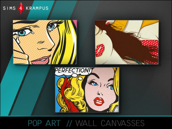 Pop Art wall canvas, set of 3 at Sims 4 Krampus image 3619 Sims 4 Updates