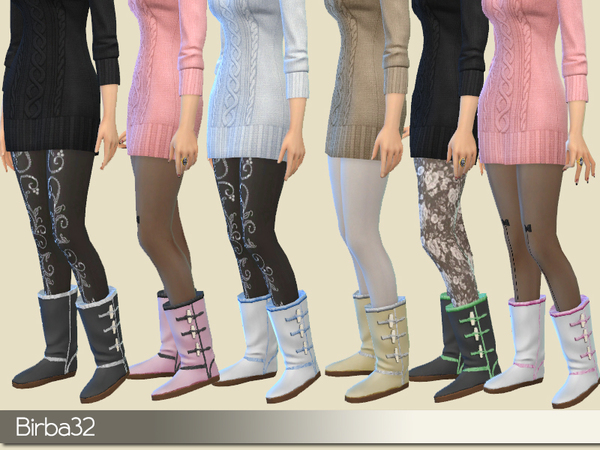Sims 4 Winter warm boots by Birba32 at TSR