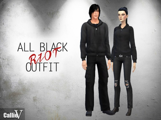 Sims 4 Riot hoodies and ripped dark jeans at CallieV Plays