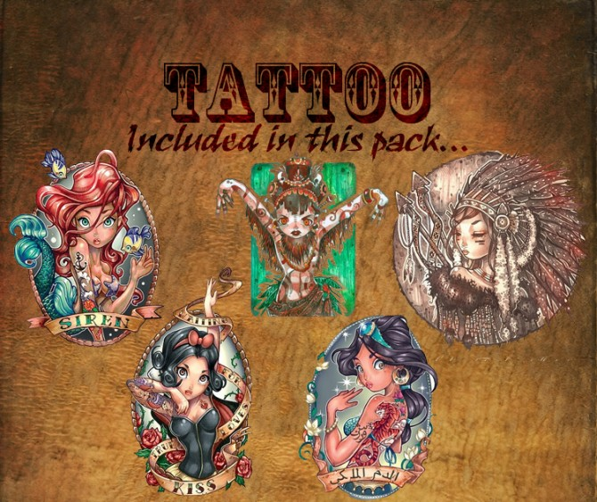 Pin Up Girls Tattoo Pack 16 By KisaFayd At Mod The Sims Sims 4 Updates