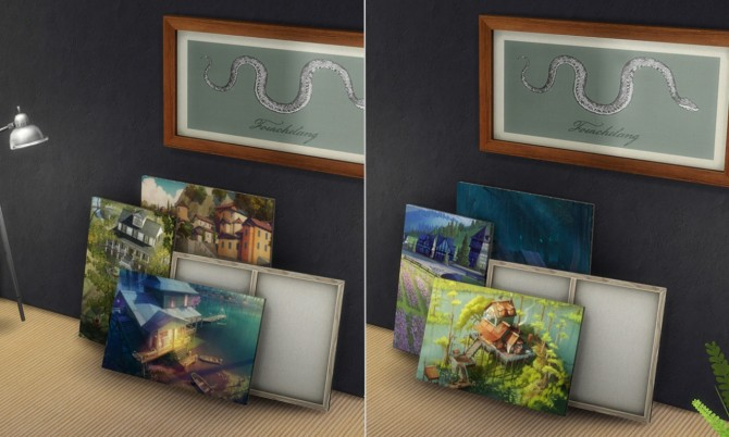 2 painting recolors : Stack of paintings at K hippie image 5016 Sims 4 Updates