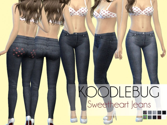 Sims 4 Sweetheart Jeans by Koodlebug at Mod The Sims