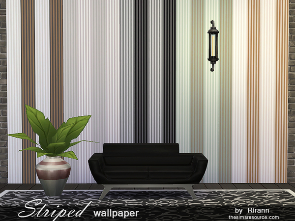 Sims 4 Striped Wallpaper by Rirann at TSR