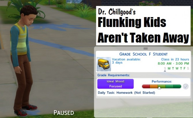 Sims 4 No Losing Kids To Bad Grades by DrChillgood at Mod The Sims