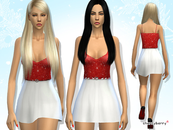 Winter wish dress by CherryBerrySim at TSR image 5514 Sims 4 Updates