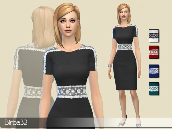 Sims 4 Belted lace dress by Birba32 at TSR