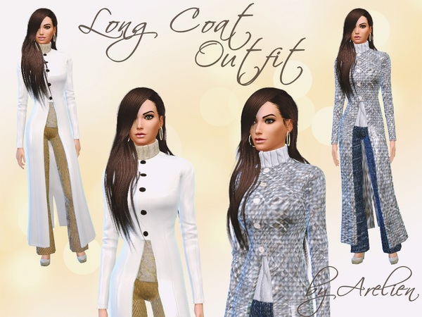 Sims 4 Long Coat Outfit Set by Arelien at TSR