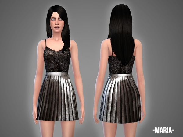Sims 4 Maria top & skirt outfit by April at TSR